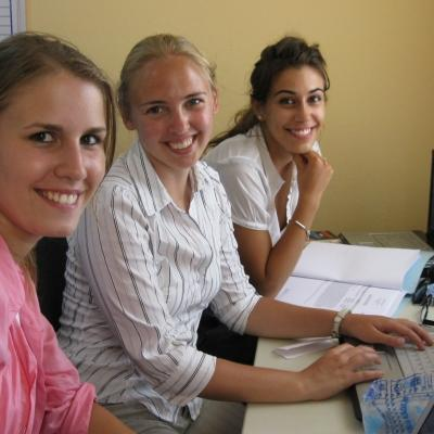 Students working in the office during their Law internships in Ghana.